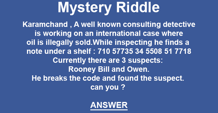 Illegally sold oil riddle