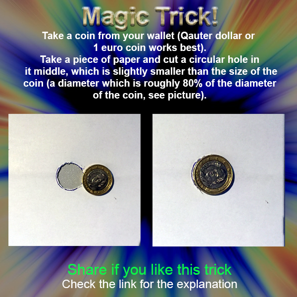 Magic coin through hole trick